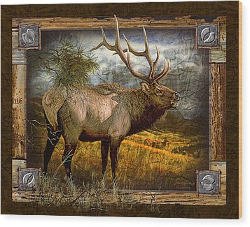 Wood Print featuring the painting Bugling Elk by JQ Licensing
