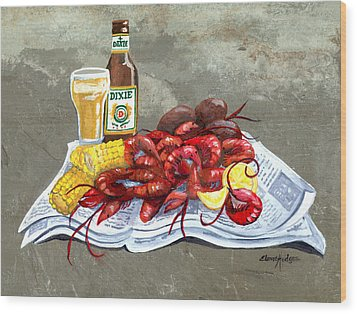 Bugs And Beer Wood Print by Elaine Hodges