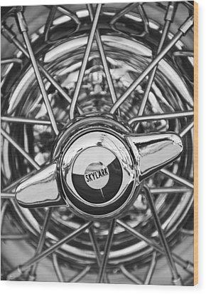 Buick Skylark Wheel Black And White Wood Print by Jill Reger