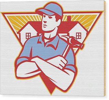Builder Construction Worker Hammer House Wood Print by Aloysius Patrimonio