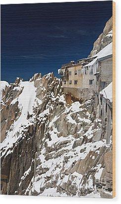 Wood Print featuring the photograph building in Aiguille du Midi - Mont Blanc by Antonio Scarpi