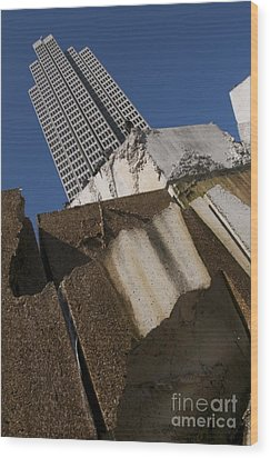 Wood Print featuring the photograph Building Out Of Concrete by Sherry Davis