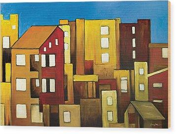 Buildings Wood Print by Ahmed Amir