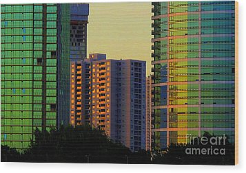 Buildings At Sunset Wood Print by Ranjini Kandasamy