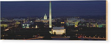 Buildings Lit Up At Night, Washington Wood Print by Panoramic Images