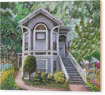 Wood Print featuring the painting Alameda 1895 Queen Anne by Linda Weinstock