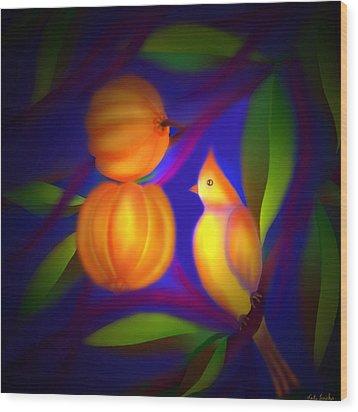 Wood Print featuring the digital art Bulbul Resting On A Gambooge Tree by Latha Gokuldas Panicker