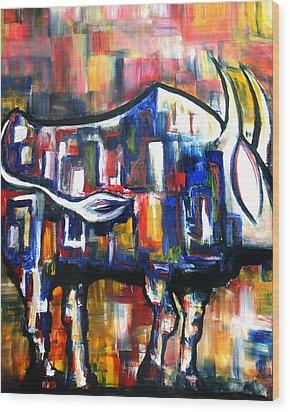 Bull At Sunset Wood Print
