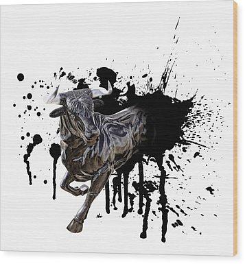Bull Breakout Wood Print by Daniel Hagerman
