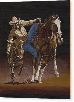 Bull Doggin' Wood Print by Hugh Blanding
