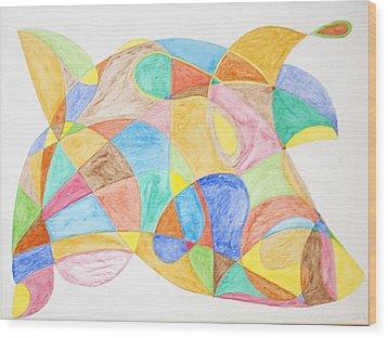 Bull Fish Car Face Wood Print by Stormm Bradshaw