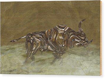 Bull Wood Print by Jack Zulli