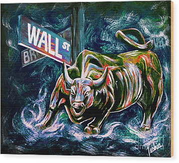 Bull Market Night Wood Print