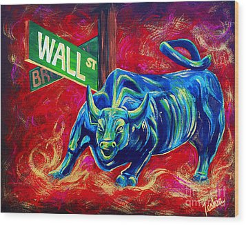 Bull Market Wood Print by Teshia Art
