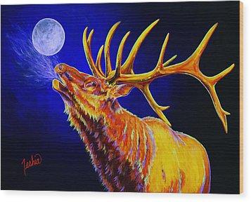 Bull Moon Wood Print by Teshia Art