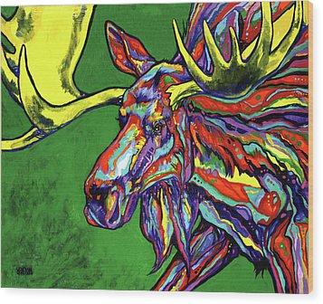 Bull Moose Wood Print by Derrick Higgins