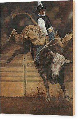 Bull Riding 1 Wood Print by Don  Langeneckert