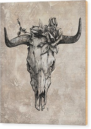 Bull Skull And Rose Wood Print