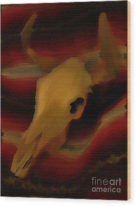 Bull Skull One Wood Print by John Mlaone