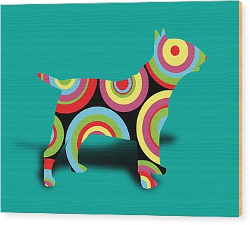 Bull Terrier Wood Print by Mark Ashkenazi