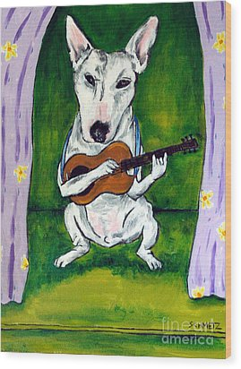 Bull Terrier Playing Guitar Wood Print by Jay  Schmetz