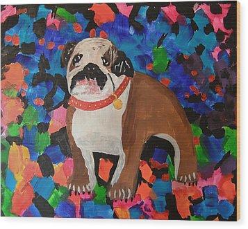 Bulldog Abstract Wood Print