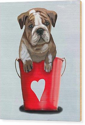 Bulldog Buckets Of Love Wood Print by Kelly McLaughlan