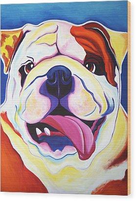 Bulldog - Grin Wood Print by Alicia VanNoy Call