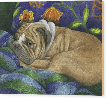 Bulldog Napping Wood Print