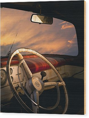 Bullet Hole Wood Print by William Schmid