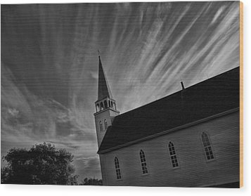 Wood Print featuring the photograph Bullet Riddled Church by Ryan Crouse