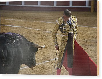 Bullfighter Manuel Ponce Performing During A Corrida In The Bullring Wood Print