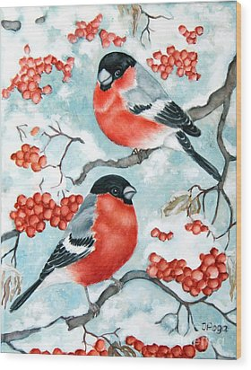 Bullfinch Couple Wood Print by Inese Poga