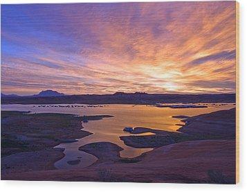Bullfrog Marina Sunrise  Wood Print