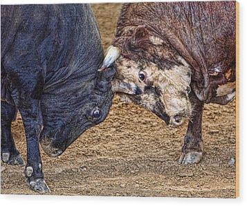 Bulls Wood Print by Karen Walzer