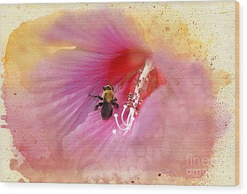 Bumble Bee Bliss Wood Print by Betty LaRue