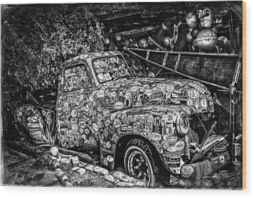 Bumper Sticker Pickup Wood Print by Robert FERD Frank