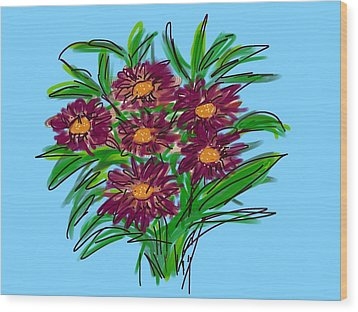 Wood Print featuring the digital art Bunch Of Daisies by Christine Fournier
