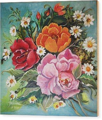Bunch Of Flowers Wood Print