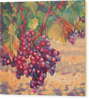 Bunch Of Grapes Wood Print by Carolyn Jarvis