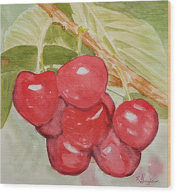 Bunch Of Red Cherries Wood Print