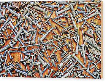 Bunch Of Screws 1- Digital Effect Wood Print by Debbie Portwood