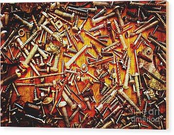 Bunch Of Screws 4 - Digital Effect Wood Print by Debbie Portwood
