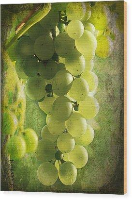 Bunch Of Yellow Grapes Wood Print by Barbara Orenya
