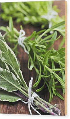 Bunches Of Fresh Herbs Wood Print by Elena Elisseeva