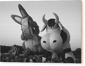 Bunny And Cow In Infra Red Wood Print