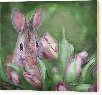 Bunny In The Tulips Wood Print by Carol Cavalaris