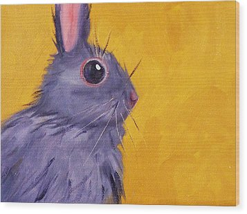 Bunny Wood Print by Nancy Merkle