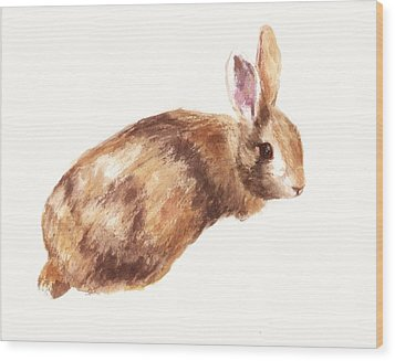 Bunny Print - Coffee And Cream Wood Print by Alison Fennell