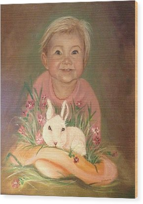 Wood Print featuring the painting Bunny Rabbit by Sharon Schultz